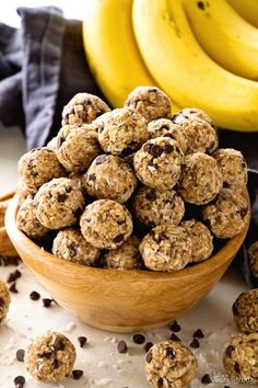No Bake Chocolate Banana Energy Balls Recipe ~ Delicious Recipe for Energy Bites Loaded with Chocolate Chips, Banana, Coconut, Oats, Flaxseed, Chia Seeds and Spiced with Cinnamon! ~ www.julieseatsand...