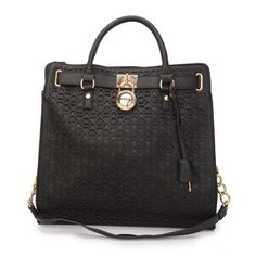 #FallingInLoveWith #MKTimeless Michael Kors Hamilton Perforated Logo Large Black Totes Lets You More Stylish And Elegent In The Street.