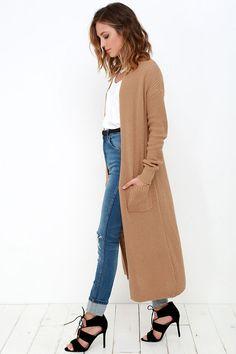 Tan Long Cardigan Sweater//
