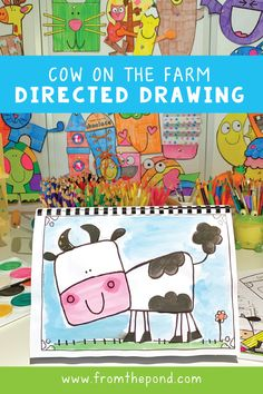 Exciting news! We've got a brand new directed drawing packet! This edition is perfect when you are teaching a unit of work on The Farm. Directed drawing allows young students to feel successful…More Art Drawings For Kids, Drawing For Kids, Drawing Art, Art For Kids, Drawing Classes For Kids, People Drawings, Easy Drawings, Kindergarten Art Lessons, First Grade Art