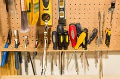 Use a pegboard shelf for storing screwdrivers and plier | 10 Ways to Organize…