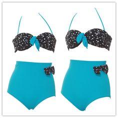 blue swimsuit high waist swimwear padded retro bikini set for women and girls S M L3 size vintage bathing suits 198 on Etsy, £14.03
