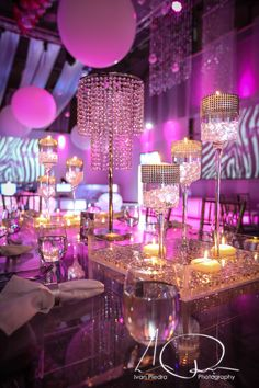 Glam pink Bat Mitzvah party decor.