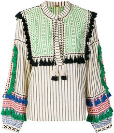 Dodo Bar Or tribal tassel fringe blouse Sleeve Designs, Blouse Designs, Diy Fashion, Fashion Outfits, Fashion Design, Gala Design, Mode Top, Thai Dress, Stylish Blouse Design
