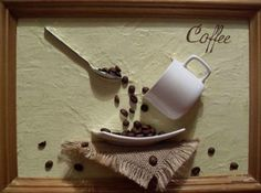 coffee bean decorating ideas-a cute decoration for on the wall behind the food table or something!