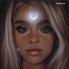 ArtStation - Talking to the moon, Marzia Palomba L'art Du Portrait, Digital Portrait, Pretty Art, Cute Art, Realistic Drawings, Cute Drawings, Bel Art, Dibujos Tumblr A Color, Art Anime