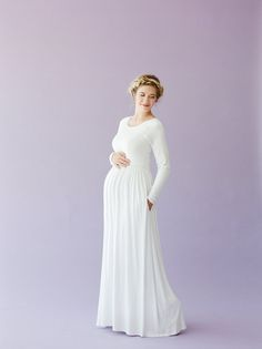 Q.NOOR LDS Temple dress Liesa- love that this is maternity friendly too!