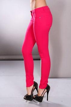 Fuchsia Button Closure Stylish Jeans on sale $14.99