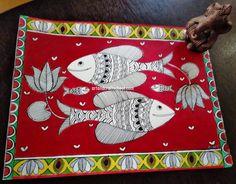 Madhubani fish - Indian folk art painting - Art from my heart Gond Painting, Kerala Mural Painting, Fabric Painting, Durga Painting, Madhubani Paintings Peacock, Madhubani Art, Pichwai Paintings, Indian Art Paintings, Owl Artwork