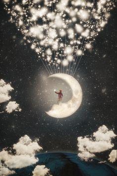 Illustration Moon The Big Journey of the Man on the Moon - Paula Belle Flores Sun Moon Stars, Sun And Stars, Moon Pictures, Good Night Moon, Night Night, Sunday Night, Man On The Moon, Moon Magic, Beautiful Moon