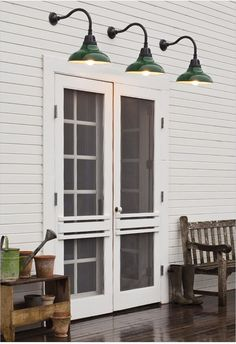 Double screen doors, barn light sconces Love this for the doors walking out the kitchen onto the deck! House Design, House, French Doors, Home, House Exterior, Barn Lighting, Double Screen Doors, Patio Doors, Doors