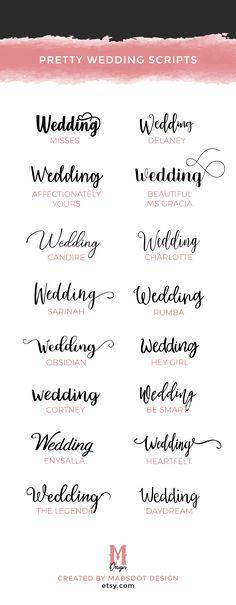 Cute and elegant script fonts for wedding invitations, signage, etc.  #weddings #weddinginvitations #weddinginspiration #fonts #scriptfont #design #prettyfonts