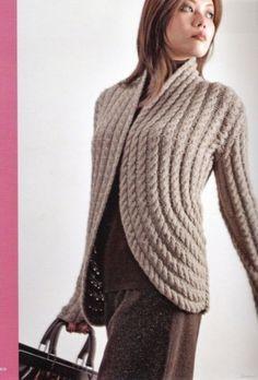 элегантный жакет с косами / Вязание спицами / Вязание для женщин спицами. Схемы вязания спицами