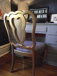 metallic spray paint on a desk chair Painting Old Chairs, Basement Studio, Metallic Spray Paint, Wishbone Chair, Desk Chair, Armchair, Diy Projects, Crafty, Room