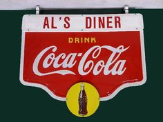 Coca Cola Double Sided Porcelain Hanging Advertising Sign.
