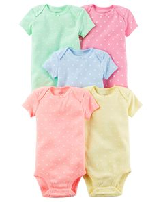 Baby Girl 5-Pack Short-Sleeve Bodysuits from Carters.com. Shop clothing & accessories from a trusted name in kids, toddlers, and baby clothes.