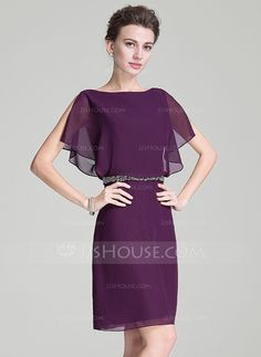 A-Line/Princess Scoop Neck Knee-Length Beading Sequins Cascading Ruffles Zipper Up Sleeves Short Sleeves No 2016 Grape Spring Summer Fall General Plus Chiffon Mother of the Bride Dress