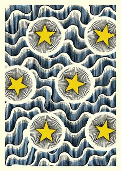 Celestial, Textile Card by Cressida Bell Motifs Textiles, Textile Patterns, Textile Prints, Print Patterns, Floral Patterns, Pattern Art, Art Et Illustration, Illustrations, Pattern Illustration