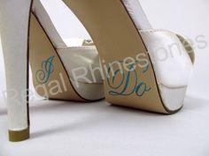 Hologram I Do Shoe Stickers - TIFFANY BLUE Glitter I Do Applique for Shoes - Wedding Shoe Stickers - I Do Decals. $8.95, via Etsy.