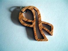 Awareness Ribbon Pendant Handcrafted from Oak Wood | KevsKrafts - Woodworking on ArtFire