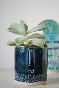 Atelier Stella. Tiny succulent pot. Shiny blue glaze.