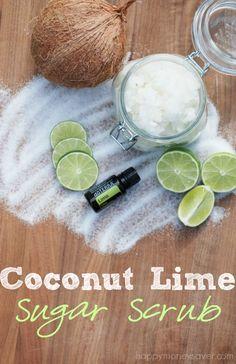 Coconut Lime Sugar Scrub Easy DIY Recipe - happymoneysaver.com