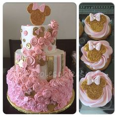 Pink and gold Minnie Mouse baby shower cake and matching cupcakes. Buttercream with fondant decorations ...