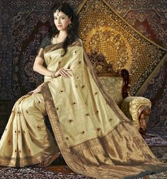 USD 85.09 Cream Silk Saree 28920