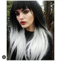 £29.99 - Black Grey Silver Ombre Dipdye Gothic Lolita Cosplay Lush Wig