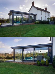 A modern glass enclosed addition for a Grade II Listed cottage in a small hamlet in Staffordshire, England. British Architecture, Amazing Architecture, Open Space Living, Living Spaces, Stucco Siding, Light Wood Cabinets, Dark Ceiling, Small Dining Area, Outdoor Dining