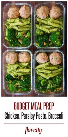 Chicken Meatball with pesto pasta & crispy broccoli by FlavCity