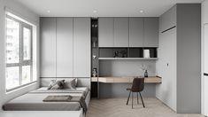 Thao Tran on Behance Room Design Bedroom, Home Room Design, Small Room Bedroom, Home Office Design, Home Bedroom, Modern Bedroom, Home Interior Design, Bedroom Decor, Modern Study Rooms