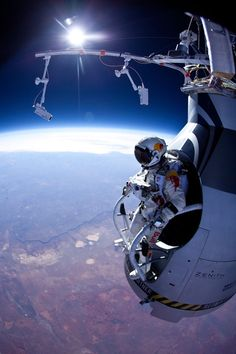 Pilot Felix Baumgartner of Austria is seen before his jump during the first manned test flight for Red Bull Stratos, based in Roswell, New Mexico.