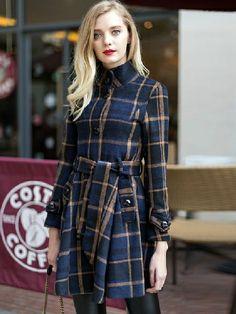 Plaid Woolen Trench Coat