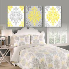 Gray and Yellow Damask Flower Print Trio - Home Flourish Swirl Wall Art Bedroom Nursery Bathroom - You Pick the Size & Colors (NS-416)