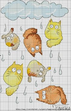 <3 raining cats cross stitch  What, no dogs?