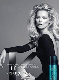 Kate Moss for Kerastase NEW Couture styling line! Get volume like Kate's with Lift Vertige root-uplifting gel. Claudia Schiffer, Kate Moss Hair, Paris Couture, Working Girl, Leo Rising, Gisele Bündchen, Hair Care Brands, Klum, Waves Curls