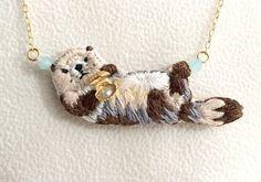Sea otter embroidery necklace   Necklace · Pendant   uehara gan   Handmade mail order · sale Creema
