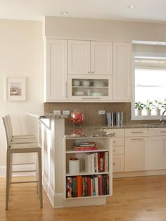 like- window ledge for plants, bookcase at end of cabinet, single clear cabinet, eating/ homework ledge. would put electrical outlets underneath cabinets so they can't be seen.