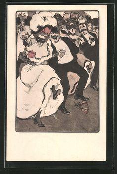Künstler-AK Ferdinand von Reznicek: Männer und Frauen tanzen bei einem…
