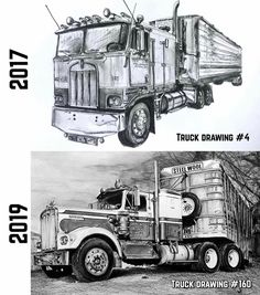 Truck Art, Trucks, Drawings, Vehicles, Drawing, Truck, Paintings, Paint, Draw