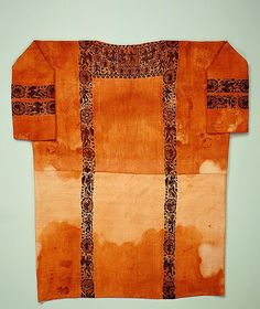 Tunic  Date: probably 5th century Geography: Egypt Medium: Undyed linen with tapestry woven wool decorations Dimensions: 68.75 in. high 53.00 in. wide (174.6 cm high 135 cm wide) Classification: Textiles  MET MUSEUM
