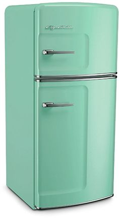 Big Chill's Studio Size Retro Fridge has a stamped metal body, authentic chrome trim, pivoting handle, available left hand hinge, temperature management system and is energy efficient. Available in 8 standard and 200 custom colors.