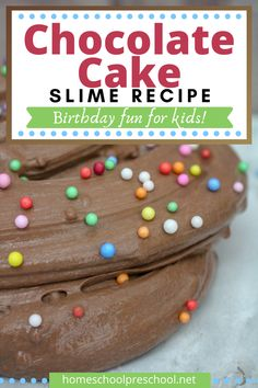 You won't believe how simple it is to whip up a batch of slime with this birthday cake slime recipe! It's perfect for birthday parties and playdates. #slimerecipe #birthdayccakeslime #chocolateslimerecipe #homeschoolpre Preschool Arts And Crafts, Fun Crafts, Activities For Kids, Birthday Fun, Birthday Cake, Birthday Parties, Easy Slime Recipe, Craft Projects For Kids, Kids Meals