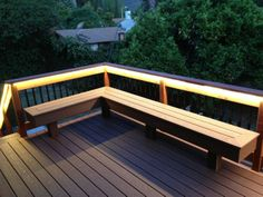 contemporary deck Deck with bench (composite  redwood)