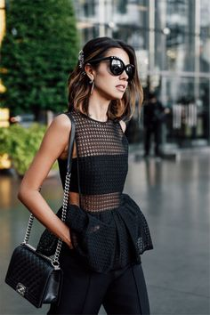 Very chic all black outfit💋 Look Fashion, Fashion Outfits, Womens Fashion, Fashion Design, Fashion Trends, Street Fashion, All Black Fashion, Workwear Fashion, Fashion Blogs