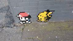 Mario and Pikachu sticker art, Belfast, Northern Ireland