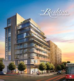 743 ST. CLAIR WEST IN TORONTO AT RUSHTON RD. & ST. CLAIR  Located at 743 St. Clair Ave. W. at the corner of Rushton Rd, The Rushton is a mid-rise, 35-residence boutique building, that has been designed with urban flair in mind. Since The Rushton will be a limited edition residential development, the building has been designed to optimize an environment of friendly refinement.   Visit Website: rushtonliving.ca