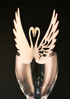 10 Laser cut wedding table decoration place card swan love birds. £7.50, via Etsy.