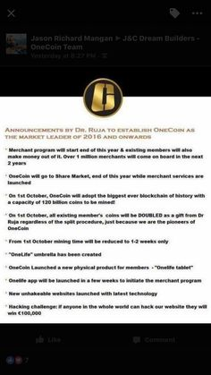 Huge update from OneCoin owners. During last weekend's huge event in London, England aka OneCoin Rush 2016, announcements were made that are simply mind blowing. This company is taking things to a whole other level. Please inbox me for more details on how to learn more about this amazing opportunity. Do not keeping procrastinating, u will miss out on a huge investment opportunity. OneCoin.eu OneSavvyBusiness.com MyMission2Millions@gmail.com #onecoin #cryptocurrency #bitcoin…